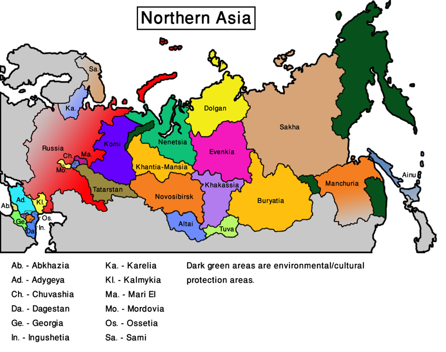 Map Northern Asia (Veg World)